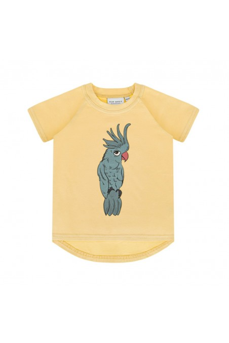 PARROT BLUE PALE YELLOW T-SHIRT